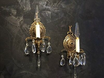 2 Vintage Sconce Bronze Brass Crystal lamp BOW ROCOCO Spain French + some prisms