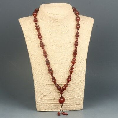 Chinese exquisite agate hand-carved necklace