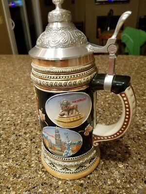 Cities of Belgium Beer Stein Ceramic Metal Lid - Nice!