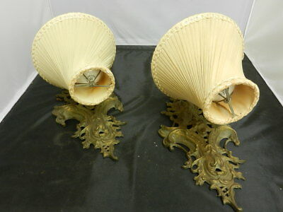 2 Vintage Art Deco Bronze Wall Sconce Lights w/shades