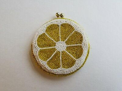 Vintage Yellow Citrus slice HAND MADE in KOREA Beaded Coin Purse Holder SNAP TOP