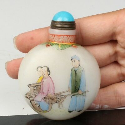 Chinese Exquisite Handmade Ancient figures pattern Glass snuff bottle