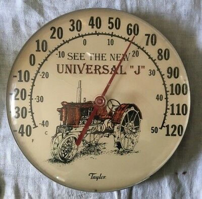 Vintage TAYLOR UNIVERSAL J Tractor FARM metal sign Thermometer WORKS! old
