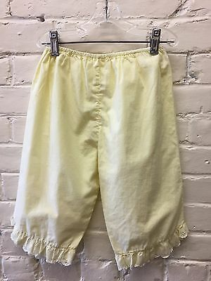 Vtg 80s Girl M L Yellow Bloomers Lace Hem Cotton Blend