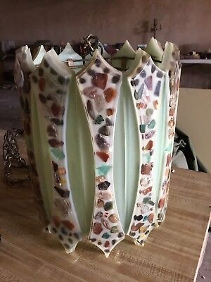 Vintage Mid Century Lucite Resin Hanging Swag Lamp - Multi Color Stones Rocks