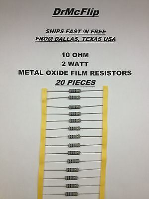 10 Ohm  2 Watt Metal Oxide Film Resistors  10R  2W  350V  ± 5%  ~  20 + Pieces