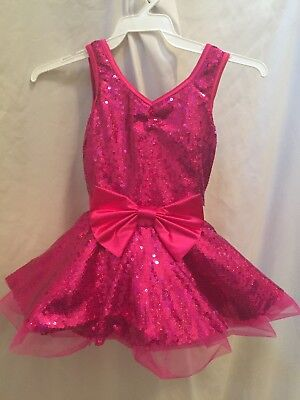 Hot pink dance costume with sequins.  Size Childrens Small.