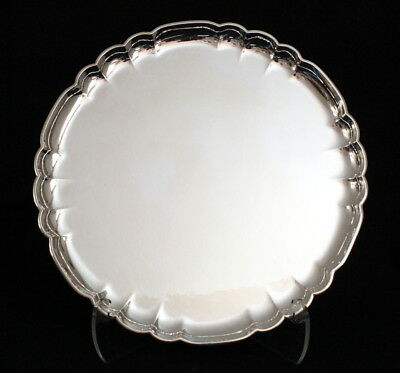 Fine Vintage Scalloped Georg Jensen Sterling Silver Round Tray 519A