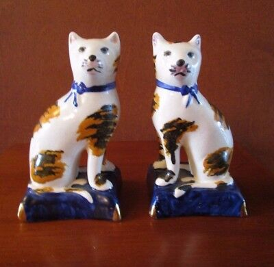 Vintage Pair Of Staffordshire Cats On Cobalt Pillows  4""