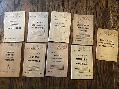 Lot of 9 WW2 WWII FM's on Camouflage ORIGINAL 1944 Artillery Infantry Aircraft