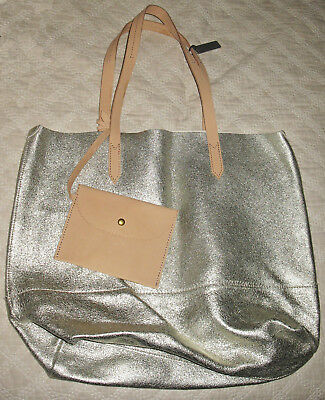 J CREW DOWNING TOTE in METALLIC SOFT LEATHER  & CAMEL LEATHER SNAP PURSE NWT!