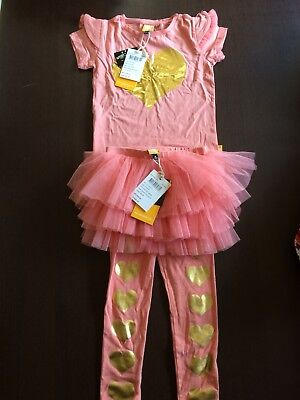 Rock Your Baby Size 4 Heart Of Gold Circus Tights & Tee Set