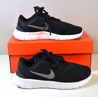 best service 03df2 e32be NIB GIRLS BOYS YOUTH NIKE FREE RN PS BLACK SILVER RUNNING SHOES SZ 11.5c
