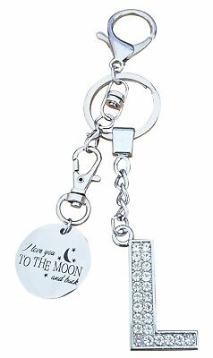 """AM Landen Alphabet Y /""""I Love you to the moon and back/"""" Letter Y Keychain"""