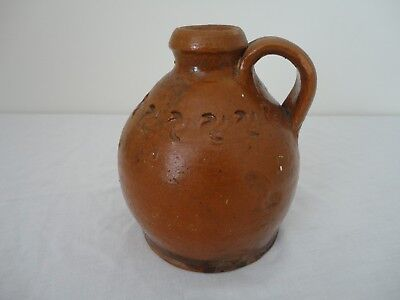 Rare Antique 19thC Small Redware Jug With Incised Pinwheels - PENN? Maryland?