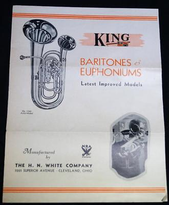 KING BARITONES & EUPHONIUMS MUSICAL INSTRUMENTS SALES BROCHURE GUIDE 1930s