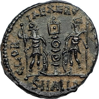 CONSTANTIUS II Authentic Ancient 337AD Roman Coin w LEGIONARY SOLDIERS i67089
