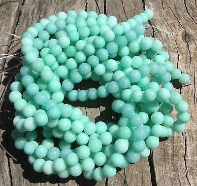 8mm Natural Green Amazonite Colour Enhanced Round Beads Oz Seller
