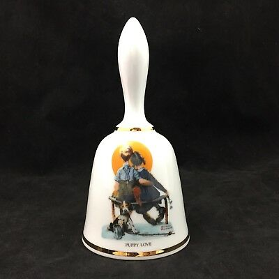 Danbury Mint Limited Edition Norman Rockwell Bell Series Puppy Love Ceramic Bell