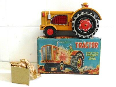 Vintage1950s Tractor with Spark  friction powered tin toy T.N Japan MIB