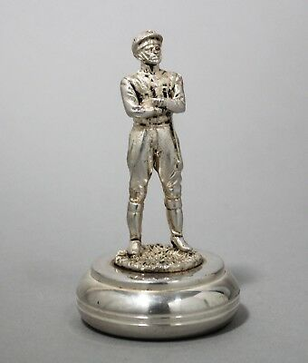 Vintage silverplate miniature horse jockey figurine statue sculpture paperweight