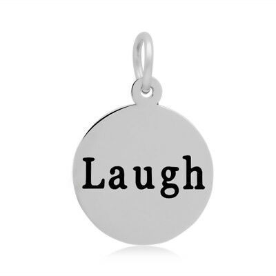 316 Stainless Steel Laugh Word Disk Charm 19x16x1.5mm Oz Seller Pk Of 5