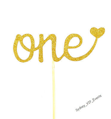 One GOLD GLITTER CAKE TOPPER HEART 1ST FIRST BIRTHDAY PARTY NUMBER DECORATION