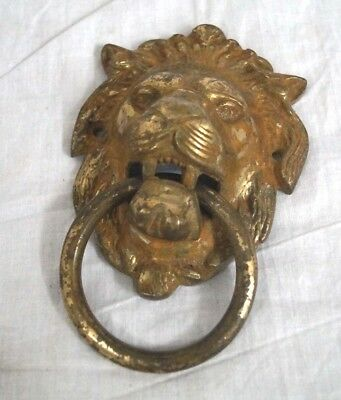 Antique Indian Large Lion Face Brass Door Knocker Size Height 6 inch