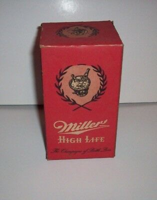 Miller High Life Tour Glass In Box with 1955 Milwaukee Braves Broadcast Schedule