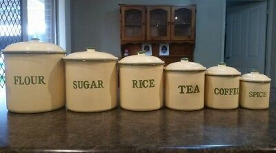 vintage antique kitchen canister set 6 canisters green and cream