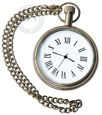 Vintage Brass Retro-Style Pocket Watch Necklace~Collectible Clock with Chain