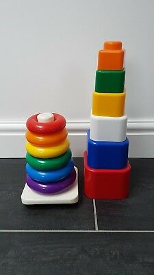 Baby Toy Coloured Stacking Rings And Blocks