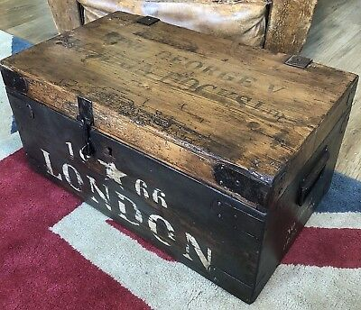 King George V Chest INDUSTRIAL Storage COFFEE TABLE Trunk FREE UK DELIVERY 26