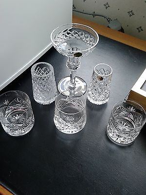 6 crystal items, 2 vases(1Tyrone crystal the other pro).3 glasses,  candleholder