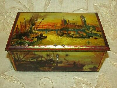 Vintage '' House Of Parliament '' Tin With Lock And Key