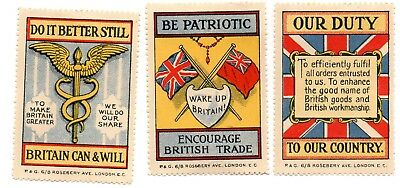 Great Britain- 3 x Patroitic Labels -hinged But GUM