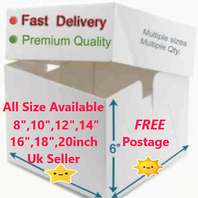 """Pack of 5 &10 Boxes,8""""10"""",12"""",14""""&16"""", Box & Lid carrier, Birthday,Very Strong"""