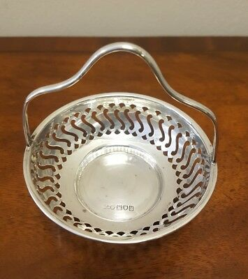 Solid Silver 925 Pierced  Basket by Arthur Reid & Sons, London, 1932 - 35.7 gms