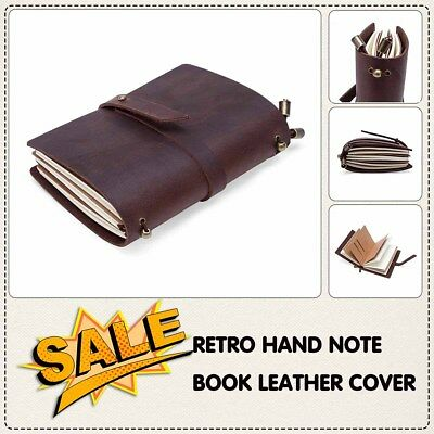 Retro Hand Notebook Leather Cover Journal Diary Gift Vintage Brown 13.5cm*10cm