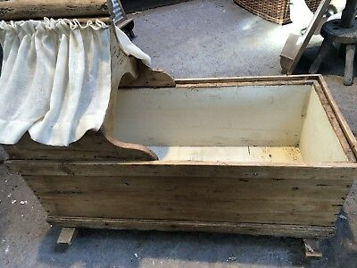 Antique Victorian Pine Crib Cradle Baby cot -