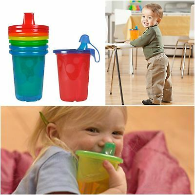 Kids Spill Proof Drinking Cups Pack Of 4 Colored Travel Sippy Cups With Lids