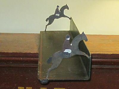 """Vintage cast iron horse & rider equestrian table top bookend shelf 30"""" long"""
