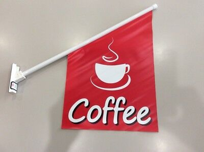 Coffee Wall Flag Double Sided Print VINYL | 60cm x 40cm | FREE POSTAGE & GST INV