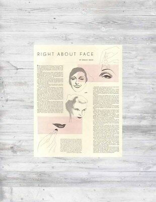 VTG 1930's Right About Face MAKEUP ARTIST Cosmetology Katharine Hepburn Art Ad