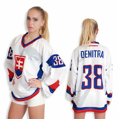 Team Slovakia PAVOL DEMITRA face White memorial Ice Hockey Jersey