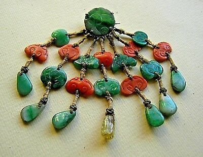 Beautiful Antique Chinese Jade & Coral Brooch