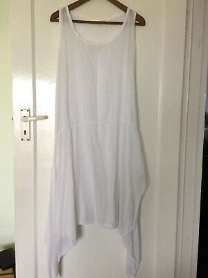 WHITE COTTON, LAGENLOOK FLOATY DRESS, ONE SIZE Approx Up To Size 16