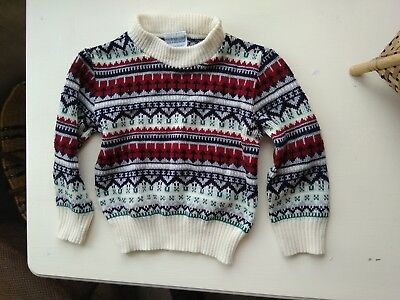 vintage mothercare unisex fair isle wool turtle neck jumper 12-24 months