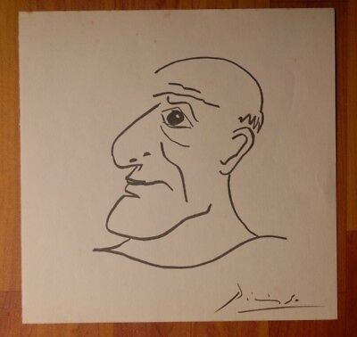 Pablo Picasso Original vintage fine art ink drawing and hand signed