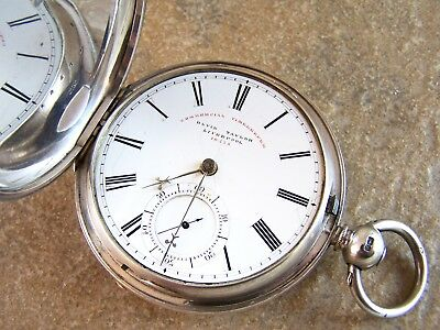 Large Antique Sterling Silver David Taylor Fusee Commercial Pocket Watch.